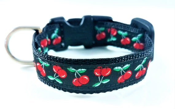Cherries Dog Collar / Teacup Dog Collar / Cherries / Mini Dog Collars / Dog Lover / Girl Dog Collar / Small Dog Collar