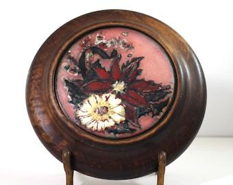 Enamel on Copper in Round Wood Frame