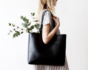 Large Black Leather Tote, Genuine Leather Bag,  Black Leather Bag, Minimalistic Bag, Handmade Bag, Travel Bag, Diaper Bag, Oversized Bag