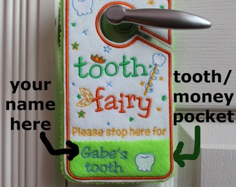 Tooth fairy hanger, door hanger with tooth chart, personalized tooth pocket, tooth fairy pillow alternative, custom name, birthday gift kids