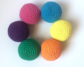 Crochet Ball Toy- Vibrant Rainbow colors- Set of 6- soft ball toy, baby ball, baby gift, toddler toy, gift for child, juggling toy