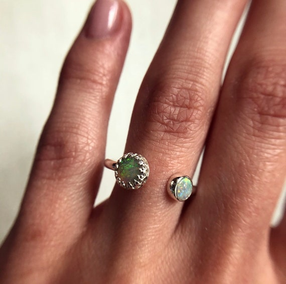 "Sterling silver ""Aria"" ring with Australian crystal opals SZ 7"