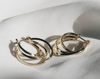 Multi hoop hoops, gold hoop earrings, small hoops