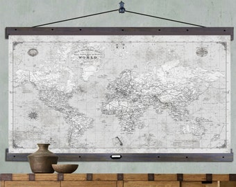 Large push pin travel map 40x60 or 44x72 canvas hanging map large push pin travel map 40x60 or 44x72 canvas hanging map push pin map vintage look map 2017 grey gumiabroncs Images