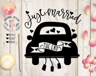 Just Married svg sign, Just Married Car Cut File in SVG, DXF, PNG, wedding svg files, marriage svg files, married svg, just married dxf