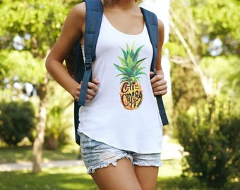 Chi Omega Muscle Cotton Modal Pineapple Tank Top