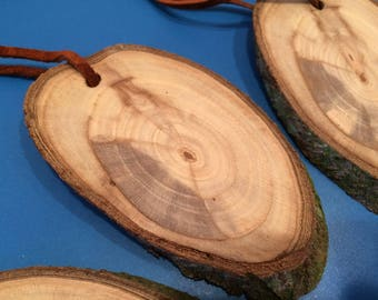 Natural Bark Ovals with Hangers