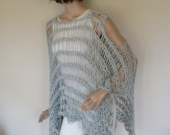 Light grey  summer knitted poncho, woman poncho