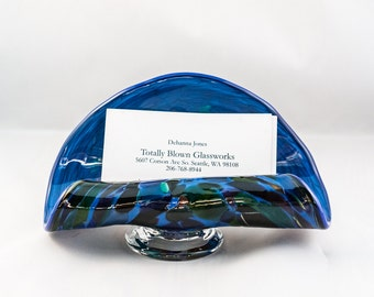 Business Card Holder.  Hand Blown Art Glass in Blue with Magic Mix.  Made in Seattle.  Artist Dehanna Jones.
