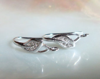 925 Sterling Silver Rhodium Plated Tiny Leaf  White Diamond CZ Ear wire with closed loop,1 pair - 18x10x6mm - EW-0023