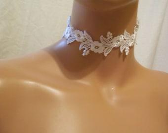 Beautiful White Lace Choker Necklace, Bridal Jewelry, Bridal Choker, Bridesmaid Jewelry, White Lace Accessories, White Lace Jewelry, Bridal