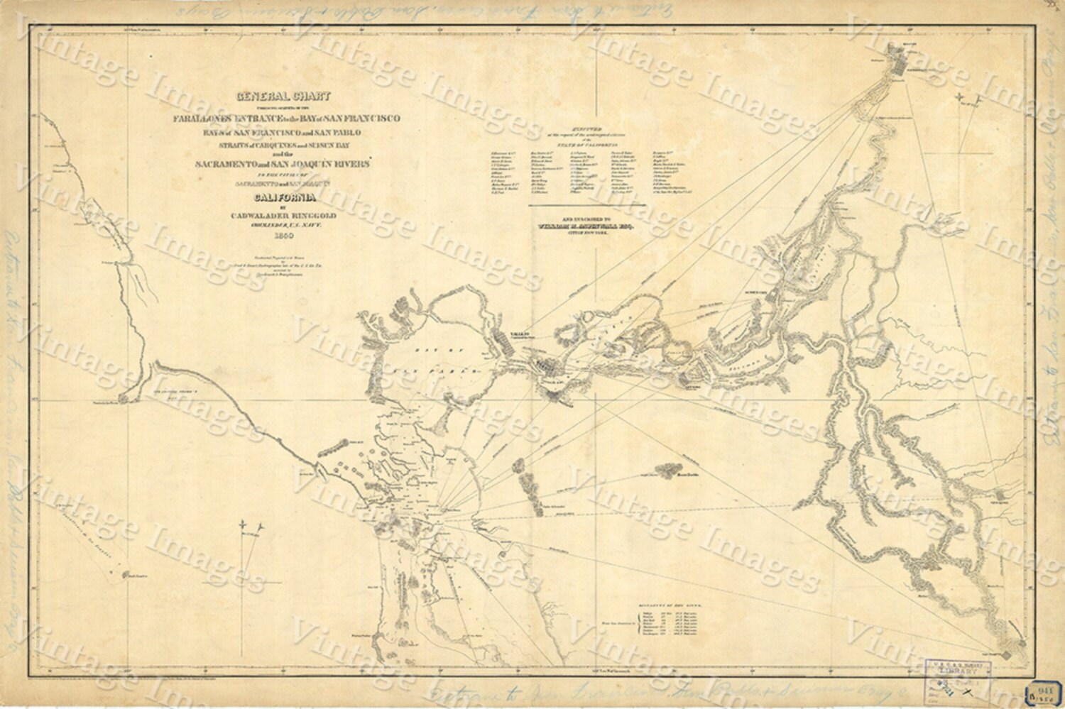 Map of San Francisco Bay 1850 vintage California Nautical Chart Wall ...