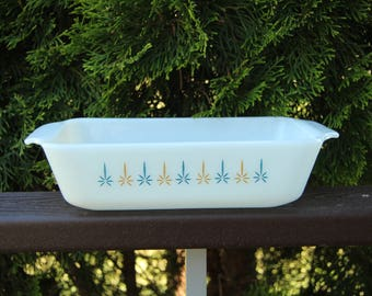 Anchor Hocking Fire King Milk Glass Loaf Dish Candle Glow Pattern Vintage Collectible Display