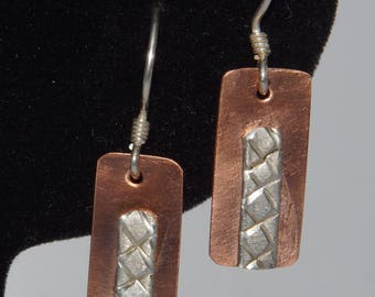 Copper Earrings with Silver Accent
