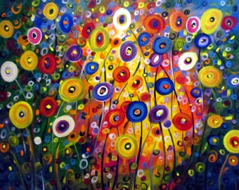 XXL Original Painting FANTASY FLOWERS Modern Contemporary Whimsical Huge Single Canvas 64x36, 72x36 by Luiza Vizoli