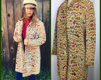 Vintage 70s Tapestry Coat Hippie Carpet Coat Jacket Baroque Tapestry Coat Size Small to Medium Fit