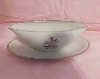 "Vintage Noritake Chine Rosales Pattern Gravy Boat w/ attached underplate 9"" long  disco 1971"
