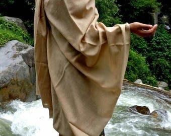 Beautiful caramel natural pashmina and wool blend large scarf/shawl/oversized scarf/women's scarf/men's scarf/unisex scarf/ no dye