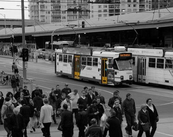 Melbourne Trams by Flinders Street Station - Black & White + Yellow Fine Art Photography on Mounted Canvas - Wall Hanging Home/Office Decor