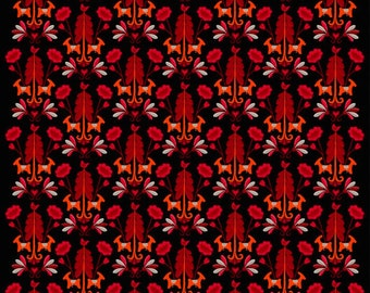 Tablecloth black red orange flowers Horses Modern Scandinavian Design ,also napkins , runners , curtains available, great GIFT