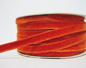 """5 yards 3/8"""" Tangerine Velvet Ribbon, Orange Velvet Ribbon, Ribbon, Ribbon lot, Wholesale Ribbon, Orange Velvet trim, Velvet ribbon"""