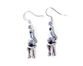 Leg Bone Earrings, 925 Silver Wires, Femur Fibula Tibia Medical Anatomy Gifts for Teachers Professors Students Doctors PA RN Med School