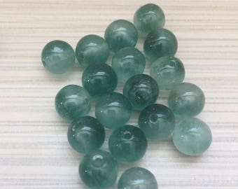 Jade round 8mm beads green or orange