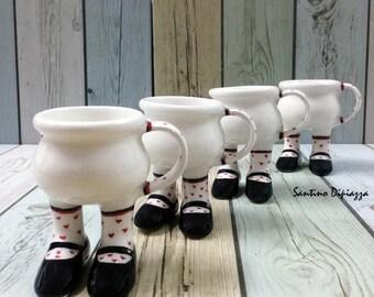 Tazzina da caffè Set, Walking ceramica, Set di 4 tazze, ceramica, insieme di caffè Espresso Italiano, espresso carina carina tazza di caffè, regalo fatto a mano, tazza regalo