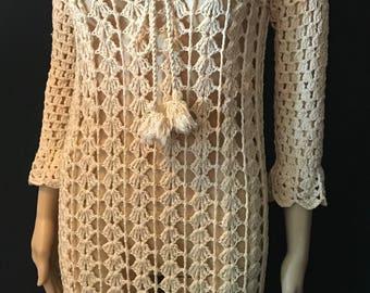 Summer of Love handmade crochet lace vintage wedding dress  unique