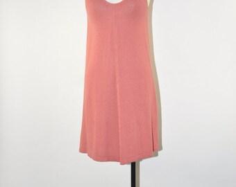90s rosewood pink dress / 1990s tank sweater dress / linen knit minimalist dress
