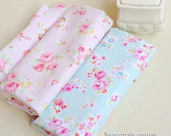 Aqua Blue Fabric Pink Flower Fabric,Shabby Chic Flower Fabric,Aqua Polka Dots Cotton,Pink Floral Cotton Fabric Half Yard / Meter (QT220)