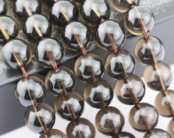 """Smooth Smoky Quartz Round Loose Beads Size 6mm/8mm/10mm/12mm 15.5"""" per Strand.QUA-001V-01"""