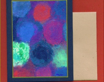 Untitled Number 131 Abstract Art Note Card Greeting Thank You Gifts Thinking of You Get Well Soon Circles Round and Round