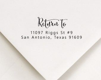 Return To Stamp, Address Stamp, RSVP Return Address, Wedding Invite Stamp, Calligraphy Stamp, Couples Wedding Stamp, Return Mail Stamp (509)