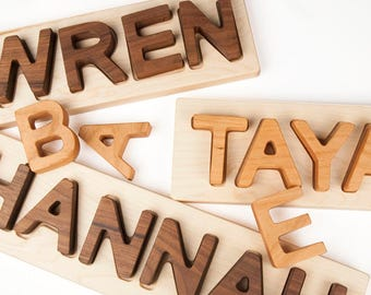 Name Puzzle, personalized wooden custom name puzzle // Montessori Educational Toy // custom handmade wood puzzle