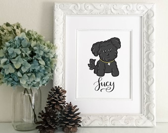 Personalized Pet Name Black & Gray Maltese / Maltipoo Print-  Custom Name, Hand Lettered, Brush Lettering, Hand Lettered, Calligraphy Print