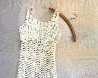 Cream Natural Fiber Crocheted Lace Slip Dress / Lace See Trough Maxi Slip Dress