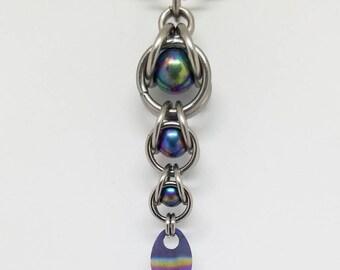 Rainbow Captured Titanium Ball Chainmaille Stainless Steel Pendant with Tiny Titanium Rainbow Scale