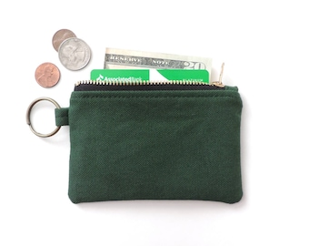 Canvas Keychain Wallet Coin Purse Zip Wallet Pouch Green