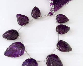 Carved purple chalcedony leaves