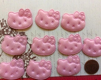 10 Pink Padded Kitty Cat with Bow Appliques