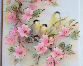 Vintage Greeting Card -  Thinking of You Glitter Birds Pink Blossoms - Unused