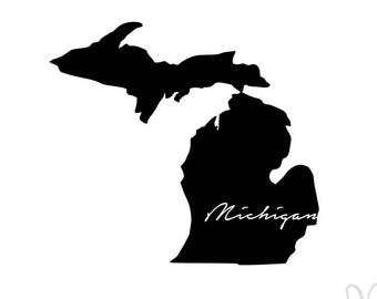 "Michigan Silhouette with Script ""Michigan"" - Instant Download File - SVG / JPG / Studio3 / PDF"