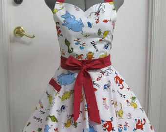 Dr. Seuss All Over Print Apron - Sweetheart Neckline - Awesome Hostess Apron