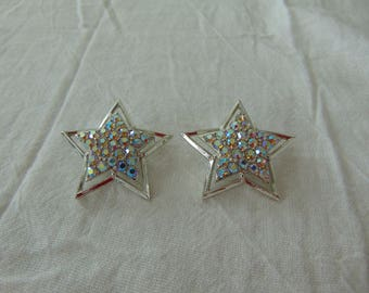 vintage ab crystal earrings clip aurora borealis sparkling plated star shaped silver plated