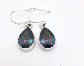 Sterling Silver and Pear-shaped Mystic Topaz Dangle Earrings