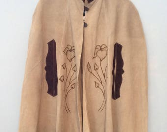 1970s Leather Poncho Mexican Embroidery Fringe