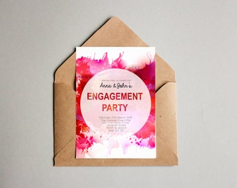 Watercolour Pink Engagement Invitation