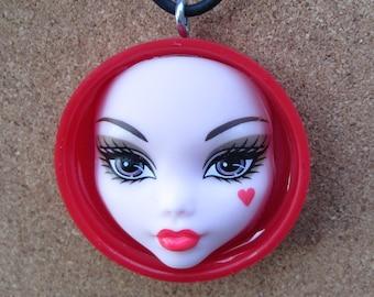 Monster High Heart -  Red bottle cap doll pendant