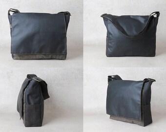 black mens messenger bag, mens canvas messenger bag, upcycled bag, vegan bag, flap bag, vegan messenger bag laptop, mens satchel bag